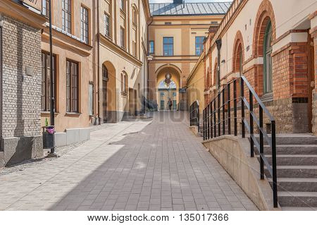 NORRKOPING, SWEDEN - JULY 27, 2016: Knappingsborg city block in Norrkoping. Norrkoping is a historic industrial town and the city block was a former snus factory dating back to the 18th century.