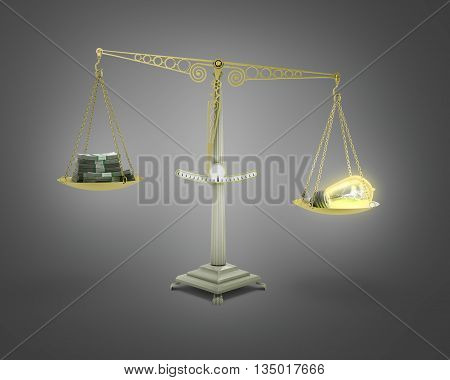 Concept Of Income-generating Ideas Bulb Outweighs The Pile Of Money On The Scales 3D Render On Gradi