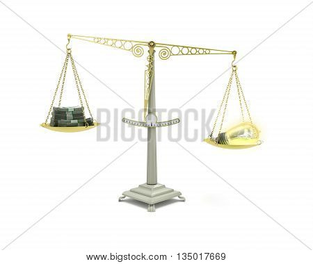 Concept Of Income-generating Ideas Bulb Outweighs The Pile Of Money On The Scales 3D Render On White