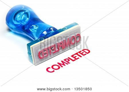 office style letter on blue rubber stamp