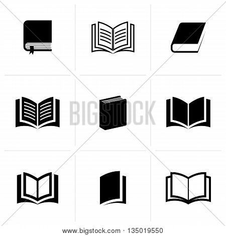 Vector book icons collection isolated on white background