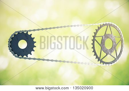Bicycle gearing on abstract green background. 3D Rendering