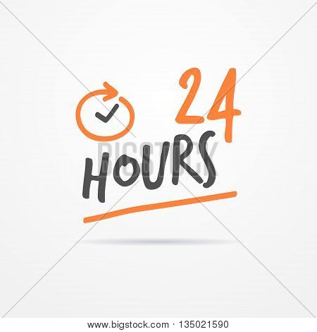 24 hours label in sketchy style. Typical simplistic 24 hours label with stylized clock. Isolated 24 hours label with shadow. 24 hours label vector stock image.