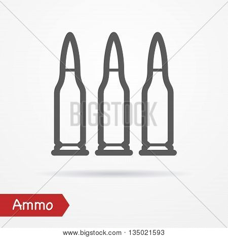 Rifle ammo in line style. Typical simplistic rifle cartridge. Rifle bullets isolated icon with shadow. Ammo vector stock image.