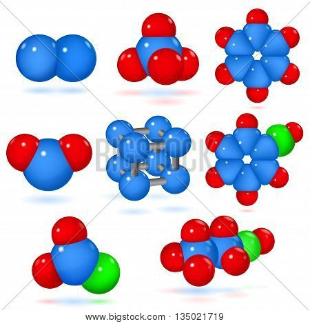 Set of models of molecules of various chemicals