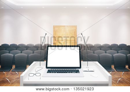 Blank Notebook In Conference Hall