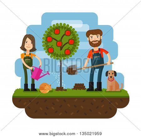 Planting of the tree orchard farmer farm. Flat design illustration concepts for working farming harvesting gardening seeding cultivate