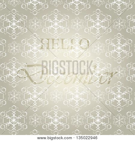 Hello December background with snowflakes. Vector illustration