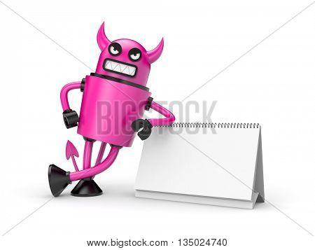Pink devil with calendar. 3d illustration
