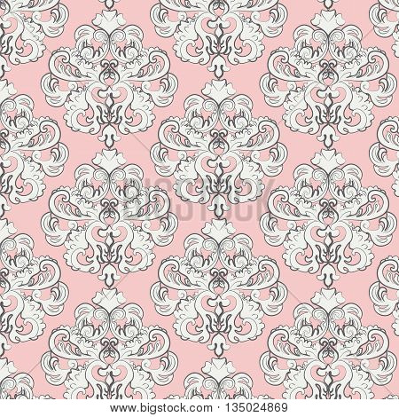 Vintage pattern with damask ornament. Vector illustration