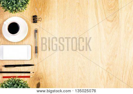 Plants, Phone And Coffee