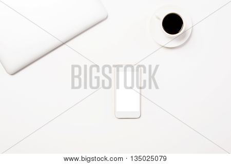 White Desktop With Phone