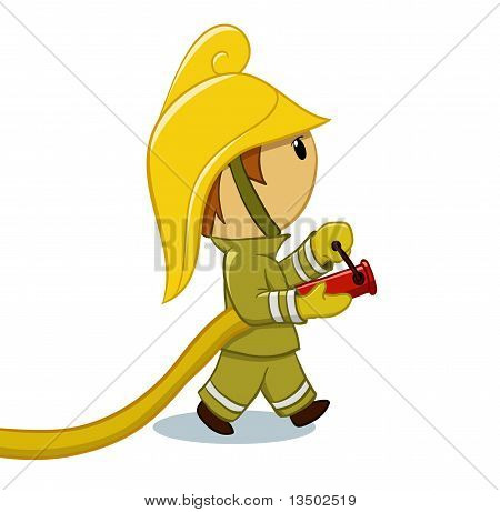 Fireman with hose and funny helmet