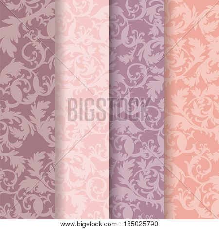 Vintage Baroque Ornaments Pattern set in pastel colors. Vector