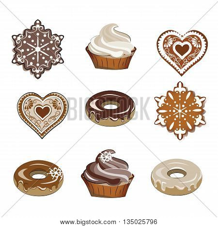 Sweets set for winter season with cupcakes gingerbread cookies and donuts. Vector