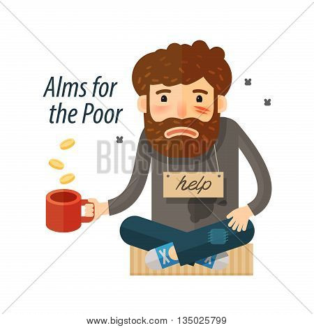 Beggar asking for money. Pauper and bum icon. vector illustration poster