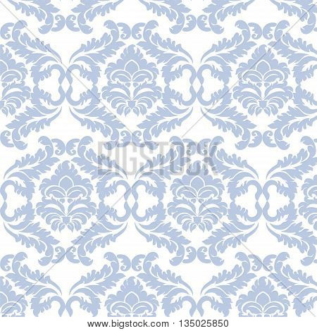 Damask luxury ornament pattern in blue color. Vector