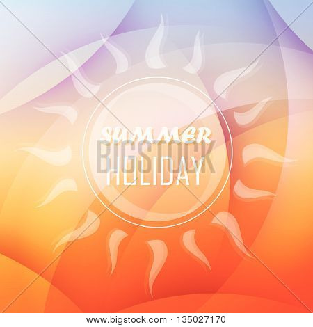 abstract summery background with text summer holiday and sun in orange and blue, flat design, vector