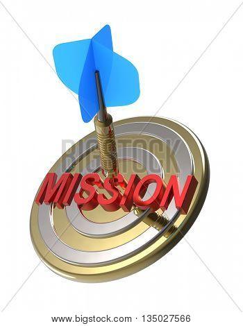 Dart hitting target. Mission concept. 3D illustration.