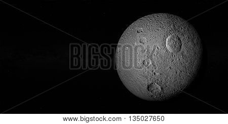 Tethys or Saturn III, mid-sized moon of Saturn on space bacground mid-sized moon of Saturn.3d rendering.