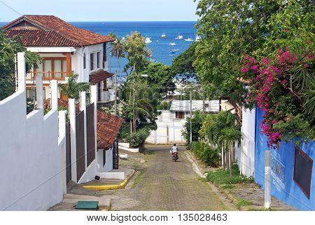 SAN JUAN DEL SUR NICARAGUA - SEPTEMBER 18 2015: Street in the San Juan del Sur on the Pacific coast