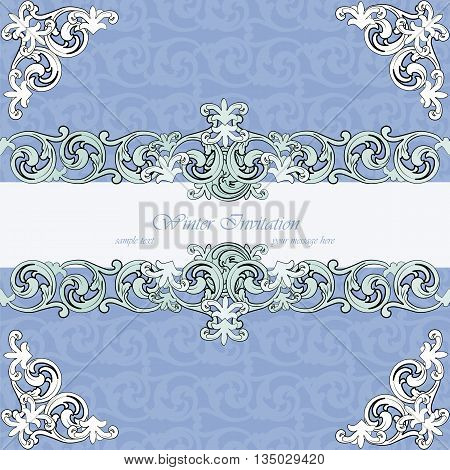 Vintage winter invitation card with damask ornaments. Vector