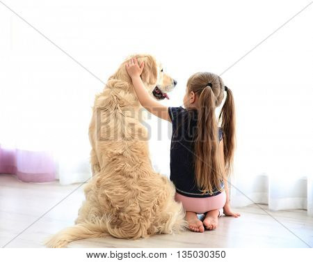 Little girl and big kind dog in the living room looking through the window