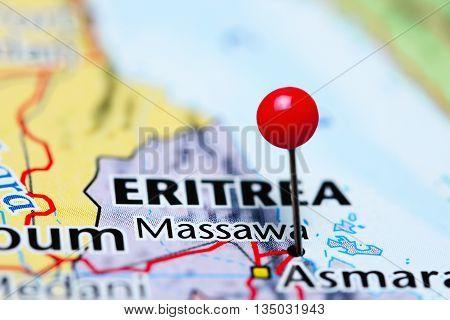 Massawa pinned on a map of Eritrea
