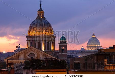 Rome City Night View, Italy.