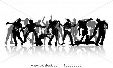 illustration of black zombie silhouettes on white background