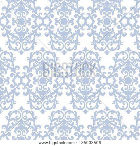 Damask luxury ornament pattern in blue. Vector
