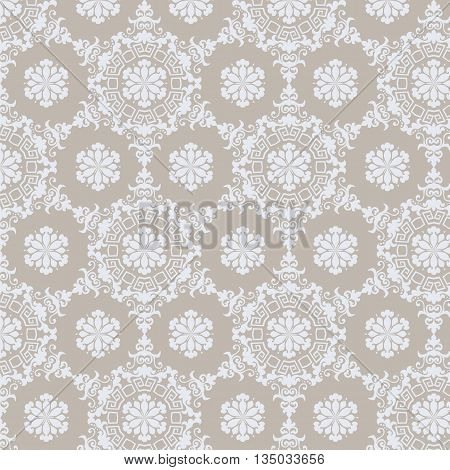 Lace ornament pattern background in beige color. Vector