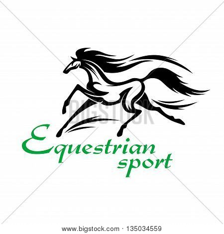 Equestrian sporting competition design element with black silhouette of racehorse at an impassioned gallop kicking up clouds of sand and dust behind hooves