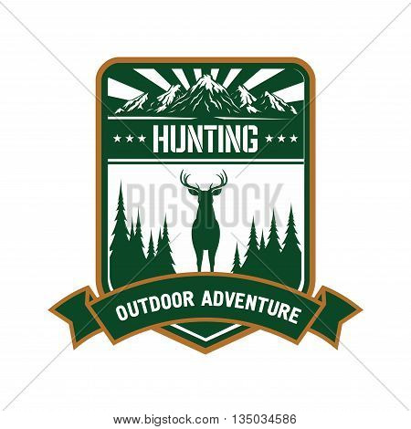 Hunting and outdoor adventure symbol of green silhouette of red deer with conifer trees on both sides, mountain peaks with sun rays and heraldic ribbon banner