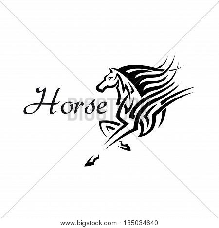 Tribal horse or mythical pegasus symbol with geometric ornaments of flowing lines and curlicues. Use as mascot or tattoo design
