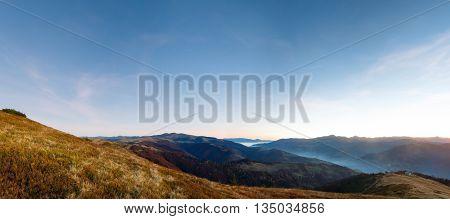 Autumn Predawn Mountain Landscape.
