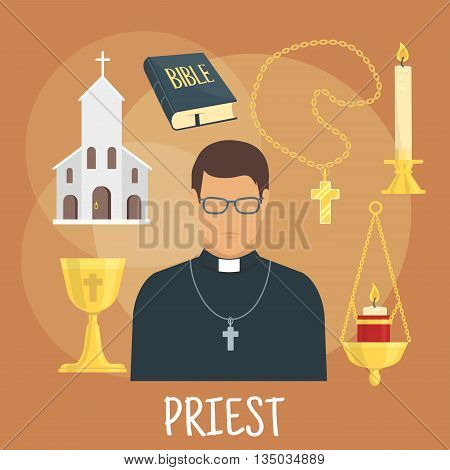 Young catholic priest icon wearing black cassock, glasses and cross with flat symbols of church building, the Bible, golden cup and candelabras with candles. Religious theme or profession design