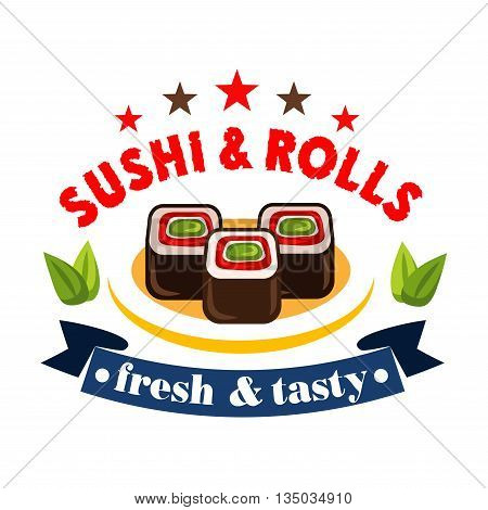 Salmon and avocado maki sushi badge, decorated by green leaves of shiso, stars and curved ribbon banner. Japanese restaurant menu or sushi bar signboard design
