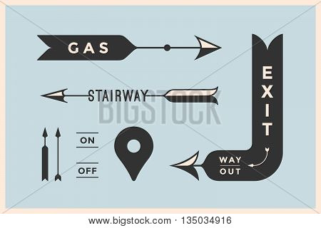 Set of vintage arrows and banners with inscription Exit, Way Out, Gas, Stairway. Design elements in retro style arrow signs on color background. Vector Illustration