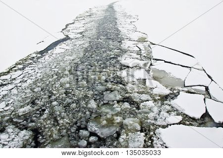 Trail left by an icebreaker on an ice field