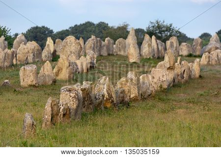 Carnac stones alignment in Brittany, France
