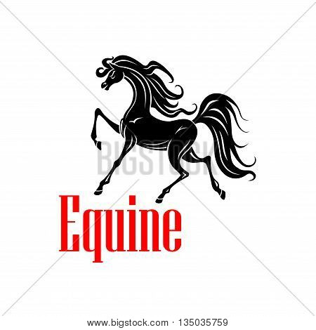Beautiful andalusian mare icon for dressage competition badge or horse breeding farm symbol design usage. Black silhouette of an upper level dressage horse at the passage test