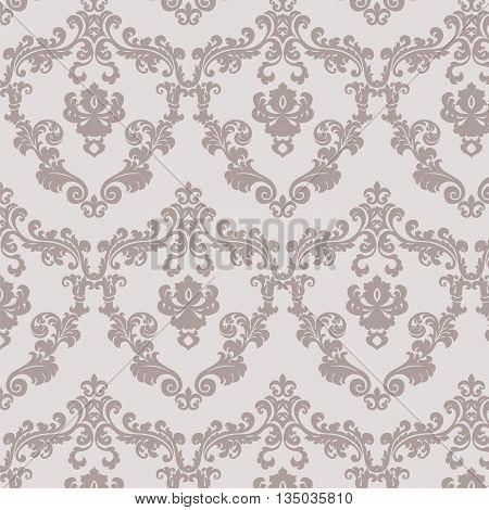 Vintage damask floral ornament pattern in beige. Vector