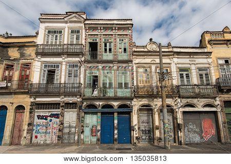 Rio de Janeiro, Brazil - June 13, 2016: Colonial Portuguese style architecture buildings in Rio de Janeiro city.