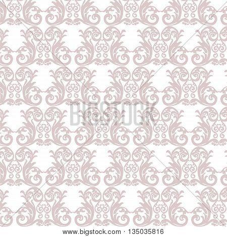 Damask luxury ornament pattern in rose quartz color. Vector