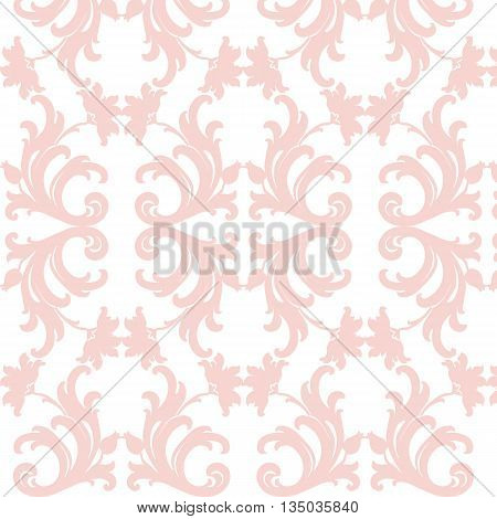 Damask luxury floral ornament pattern in rose color. Vector