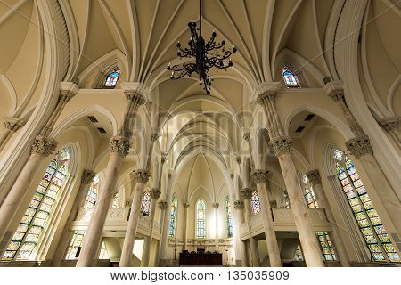 Rio de Janeiro, Brazil - June 13, 2016: Interior of the Presbyterian Cathedral in neo-gothic style, located in downtown of the city.