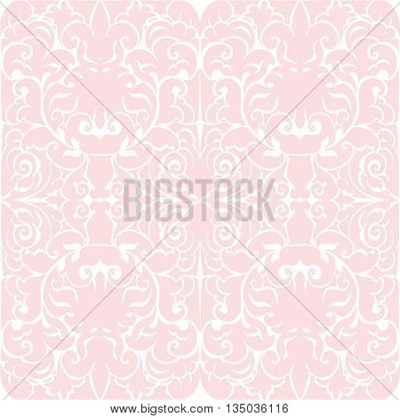 Damask luxury floral ornament pattern in rose quartz color. Vector
