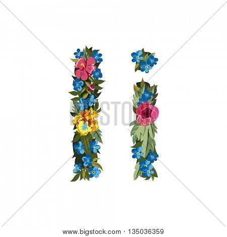 I letter. Flower capital alphabet. Colorful font. Uppercase and lowercase. Vector illustration. Grotesque style. Floral alphabet.