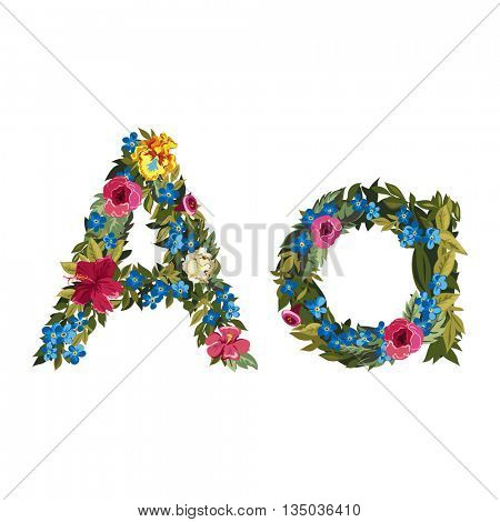 A letter. Flower capital alphabet. Colorful font. Uppercase and lowercase. Vector illustration. Grotesque style. Floral alphabet.